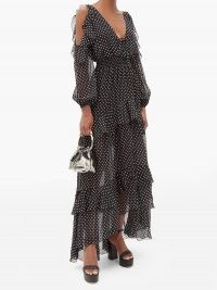 DUNDAS Off-the-shoulder tiered polka-dot silk maxi dress / monochrome spot print event dresses