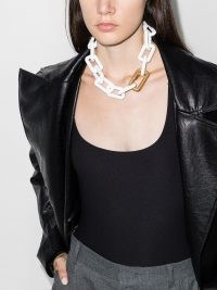 Off-White chain-link necklace ~ chunky white acetate necklaces ~ statement jewellery