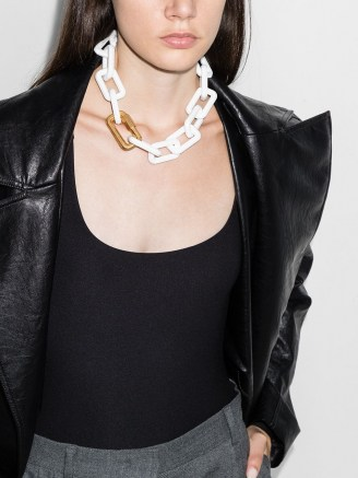 Off-White chain-link necklace ~ chunky white acetate necklaces ~ statement jewellery - flipped