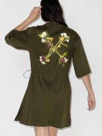 Off-White floral Arrows print drawstring shirt dress ~ printed back detail dresses