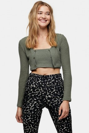 Topshop Olive Textured Cardigan And Cami Set | cropped cardigans | green knitwear sets - flipped