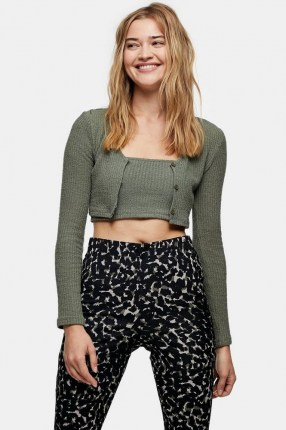 Topshop Olive Textured Cardigan And Cami Set | cropped cardigans | green knitwear sets