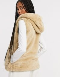 Only faux fur gilet in camel | autumn / winter hooded gilets | fluffy sleeveless jackets