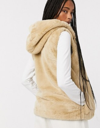 Only faux fur gilet in camel | autumn / winter hooded gilets | fluffy sleeveless jackets - flipped