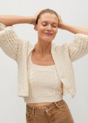 MANGO SELENA Openwork knit cardigan | puff sleeve cardigans