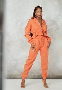 MISSGUIDED orange pocket detail cargo joggers / bright jogging bottoms / casual cuffed jogger