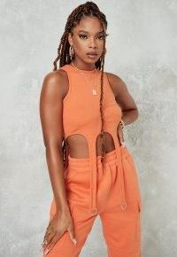 MISSGUIDED orange rib suspender detail crop top / casual tops