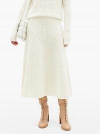 GABRIELA HEARST Pablo cashmere-blend bouclé midi skirt in cream   knitted skirts   luxury knitwear