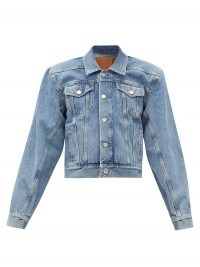 VETEMENTS Padded-shoulder logo-collar denim jacket ~ casual exaggerated shouldered jackets