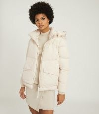 REISS PAIGE PADDED JACKET WITH REMOVABLE HOOD CREAM ~ casual winter jackets