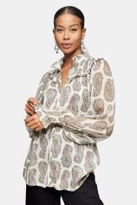 TOPSHOP Paisley Print Shirred Blouse / smocked detail blouson style shirts