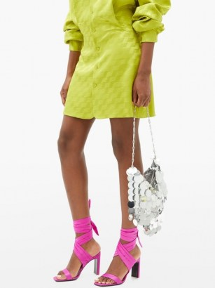 THE ATTICO Paris pink ankle-tie satin sandals ~ bright party shoes - flipped