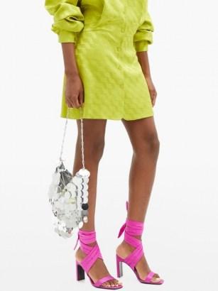 THE ATTICO Paris pink ankle-tie satin sandals ~ bright party shoes