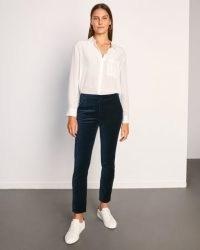 JIGSAW PARIS VELVET TROUSER / navy blue tapered trousers / slim fit
