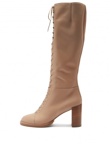 GABRIELA HEARST Pat lace-up leather knee-high boots in beige   luxury autumn / winter boots - flipped