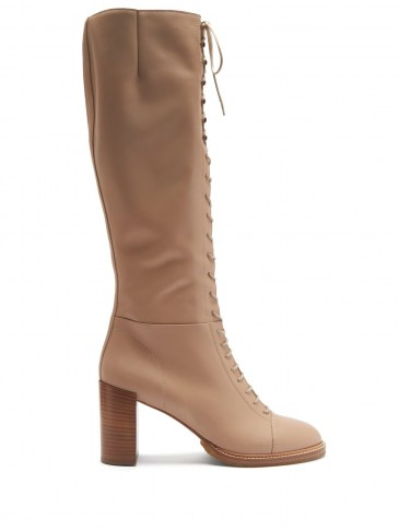 GABRIELA HEARST Pat lace-up leather knee-high boots in beige   luxury autumn / winter boots