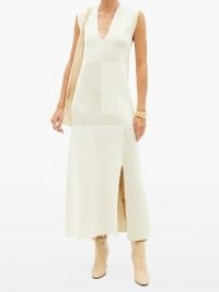 JIL SANDER Patchwork front-slit knit midi dress   designer knitwear   sleeveless split hem dresses   chic knits