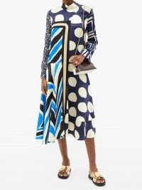 MARNI Patchwork satin dress / multi print dresses / mixed prints / large spots