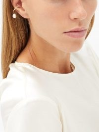 ANISSA KERMICHE Pêche Glacée diamond, pearl & 14kt gold ear cuff | single ear cuffs | luxe jewellery