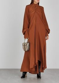 PETAR PETROV Abiel rust draped silk maxi dress ~ flowing orange-brown event dresses ~ rich autumn / winter colours