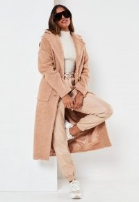 Missguided petite brown borg patch pocket coat | textured winter coats