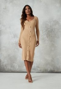 Missguided petite camel rib knit long sleeve midi dress | knitted dresses | ribbed knitwear