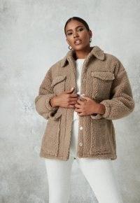 Missguided petite sand borg teddy pocket coat | chunky winter jackets