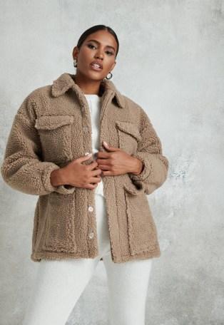 Missguided petite sand borg teddy pocket coat | chunky winter jackets - flipped