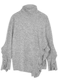 3.1 PHILLIP LIM Grey ruffle-trimmed jumper ~ asymmetric jumpers ~ slouchy high neck sweater ~ oversized knitwear