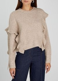 3.1 PHILLIP LIM Taupe ruffle-trimmed jumper ~ ruffled asymmetric jumpers ~ neutral knitwear ~ beautiful luxe knits