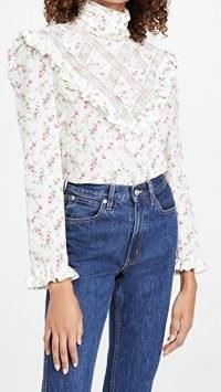Philosophy di Lorenzo Serafini Floral High Neck Blouse fantasy print white / victorian style blouses