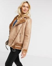 Pieces aviator jacket in tan / light brown casual jackets / faux fur lined outerwear