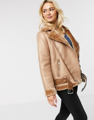 Pieces aviator jacket in tan / light brown casual jackets / faux fur lined outerwear - flipped