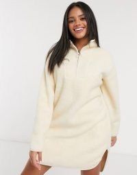 Pieces mini borg dress with half zip in cream / fluffy textured dresses