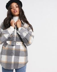 Pieces shacket with belted waist in grey check / checked shackets with belts / curved hem