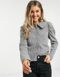 Pieces shirt with prairie collar in black and white check