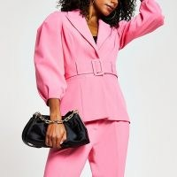 River Island Pink belted bell puff sleeve blazer | statement blazers | volume sleeved jackets