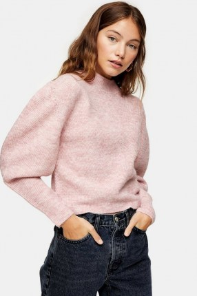 TOPSHOP Pink Chevron Cropped Knitted Jumper ~ balloon sleeve jumpers