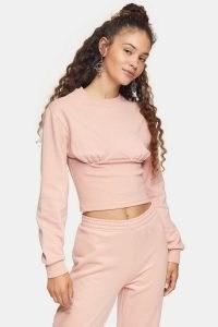 Topshop Pink Corset Detail Sweatshirt | sweatshirts | fitted tops