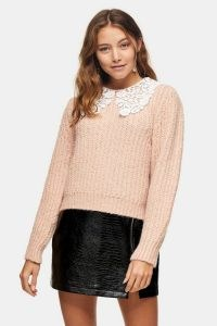 TOPSHOP Pink Crochet Collar Jumper / floral collars / jumpers / knitwear