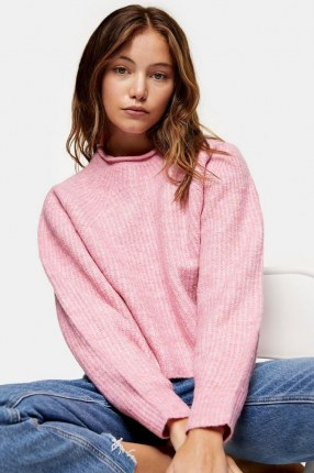 TOPSHOP Pink Cropped Knitted Jumper ~ pretty crop hem jumpers - flipped