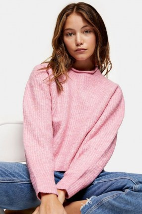 TOPSHOP Pink Cropped Knitted Jumper ~ pretty crop hem jumpers