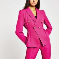 River Island Pink Double Breasted blazer | puff shoulder jacket | puffed shoulders | bright blazers