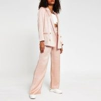 RIVER ISLAND Pink double breasted gold button blazer