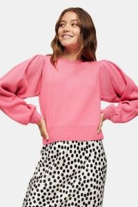 Topshop Pink Exaggerated Sleeve Knitted Sweatshirt | volume sleeved sweatshirts