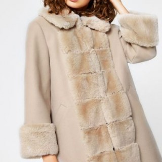 RIVER ISLAND Pink faux fur panelled swing coat / winter glamour / glamorous coats - flipped