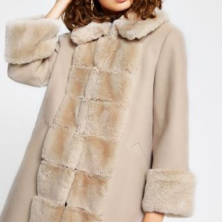 RIVER ISLAND Pink faux fur panelled swing coat / winter glamour / glamorous coats