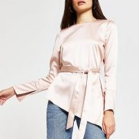 RIVER ISLAND Pink long sleeve asymmetric hem top | tie waist tops | angled hemlines