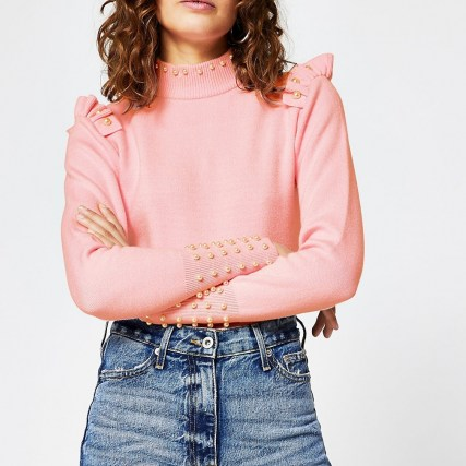 River Island Pink pearl trim jumper   frill detail jumpers - flipped