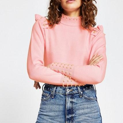 River Island Pink pearl trim jumper   frill detail jumpers